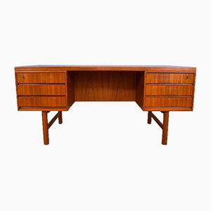 Danish Model 76 Teak Twin Pedestal Office Desk by Gunni Omann for Omann Jun, 1960s