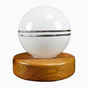 Wooden Spherical Table Lamp, 1970s