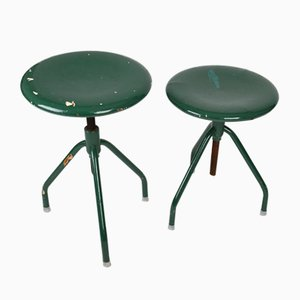 Vintage Industrial Adjustable Metal Stools, 1960s, Set of 2