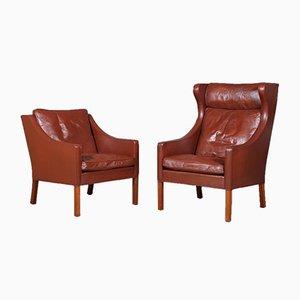 Sillón modelo 2207 y 2204 de Børge Mogensen para Fredericia Furniture, años 90. Juego de 2