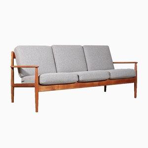 Sofá de tres plazas modelo 128 de teca de Ole Wanscher para France & Søn / France & Daverkosen, años 60
