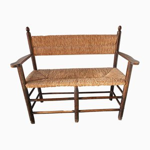 Vintage Wood & Straw Bench