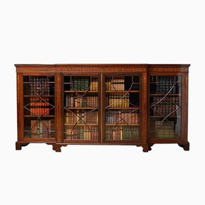 Bibliothèque Édouardienne Antique en Acajou Marqueté