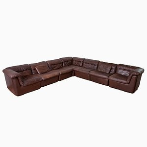 Modular Leather Sofa by Ernst Martin Dettinger for WK Möbel, 1970s, Set of 7
