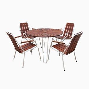 Tavolo Mid-Century con sedie di Daneline, anni '70, set di 5