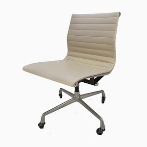 Vintage Aluminum & Skai Swivel Desk Chair by Charles & Ray Eames for Herman Miller, 1960s