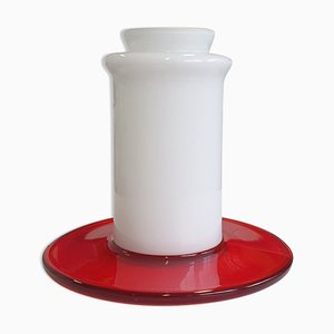 Vase Vintage Blanc et Rouge en Verre de Murano par Ettore Sottsass pour Vistosi