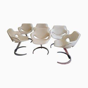 Weiße Esszimmerstühle von Boris Tabacoff für MMF, 1960er, 6er Set