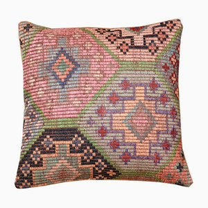 Funda de cojín kilim de colores de lana de Zencef Contemporary