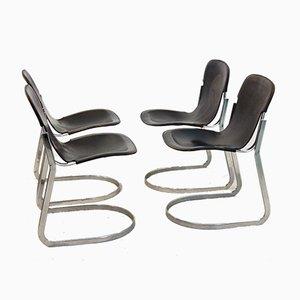 Schwarze C2 C2 Esszimmerstühle mit Sitz aus Sattelleder von Willy Rizzo für Cidue, 1970er, 4er Set