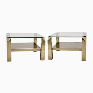 23 ct Gold-plated Two Tier Glass Side Tables from Belgo Chrom / Dewulf Selection, 1970s, Set of 2