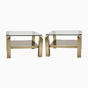 Mesas auxiliares de vidrio de dos pisos bañadas en oro de 23 quilates de Belgo Chrom, años 70. Juego de 2