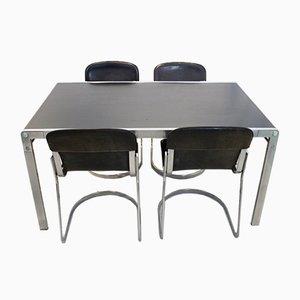 Set avec Table de Salle à Manger TE21 et Chaises Willy Rizzo C22 en Cuir par Claire Bataille & Paul Ibens pour Cidue, 1970s