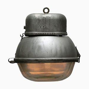 Réverbère Industriel Vintage en Verre et Aluminium, 1950s