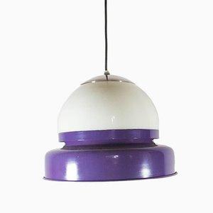 Vintage Deckenlampe mit violettem Glasschirm, 1970er