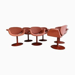 Model Little Tulip Red Chairs by Pierre Paulin for Artifort, 1970s, Set of 6