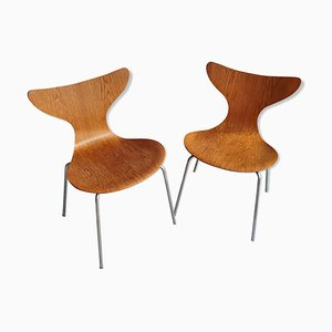 Oak Seagull Chairs by Arne Jacobsen for Fritz Hansen, 1970s, Set of 2