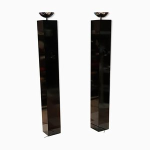 Black Column Floor Lamps by Michel Boyer, 1970s, Set of 2