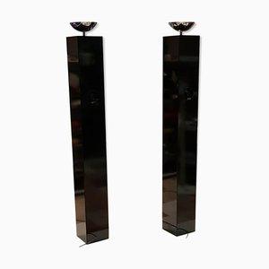 Lámparas de pie con columna negra de Michel Boyer, años 70. Juego de 2