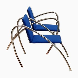 Blue Armchairs by Alian Domingo and Francios Scali for Nemo Agency, 1980s, Set of 2
