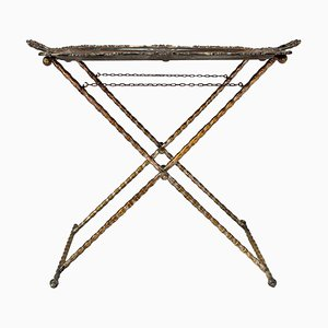 Silvered Bronze Tray Table with Faux Bamboo Stand, 1950s