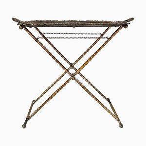 Tabletttisch aus versilberter Bronze mit Gestell aus Kunstbambus, 1950er
