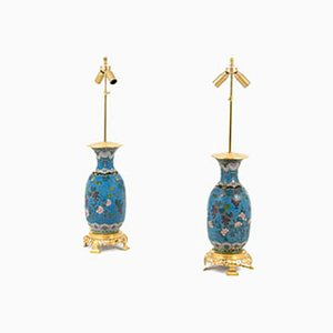 Antique Japanese Cloisonné Enamel & Gilt Bronze Lamps, Set of 2