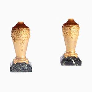 Lámparas de mesa antiguas modernistas de bronce dorado de Paul Louchet. Juego de 2