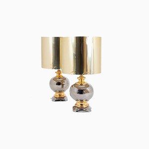 Lámparas de mesa esféricas de cerámica esmaltada en dorado y plateado, años 60. Juego de 2