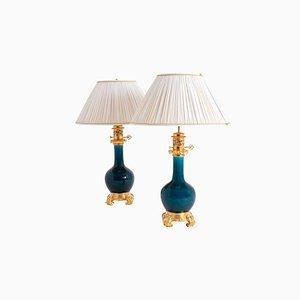 Blaue Porzellanlampen, 1880er, 2er Set