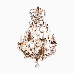 Crystal and Porcelain Cage Chandelier, 1900s