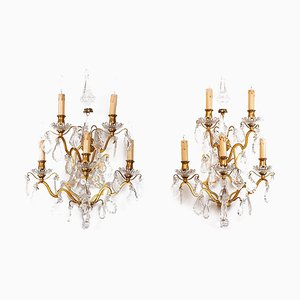 Louis XV Style Gilt Bronze and Crystal Wall Sconces, 1900s, Set of 2