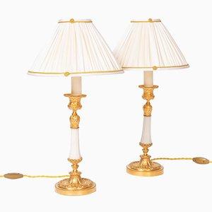 Lámparas de mesa estilo Louis XVI de bronce dorado y mármol blanco, década de 1880. Juego de 2