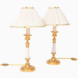 Louis XVI Style Gilt Bronze & White Marble Table Lamps, 1880s, Set of 2
