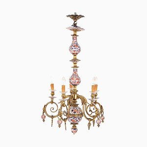 Antiker Imari Kronleuchter aus Porzellan & vergoldeter Bronze