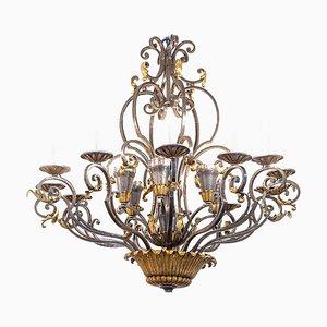Lámpara de araña Art Déco de hierro forjado, años 30