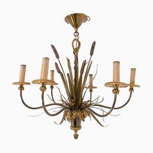 Lámpara de araña con juncos de bronce de Maison Charles, años 70