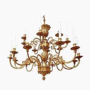 Lámpara de araña grande de bronce dorado decorada de Maison Delisle, años 70