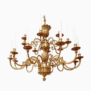 Large Gilt Bronze Chandelier with Stylized Egg Decor from Maison Delisle, 1970s
