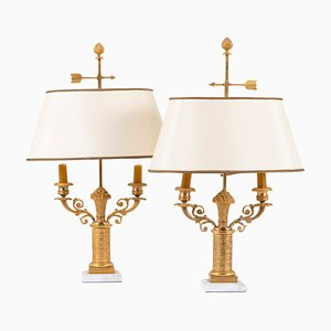 French Restoration Style Gilt Bronze Bouillotte Lamps, 1950s, Set of 2