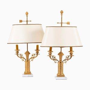 Lámparas Bouillotte francesas de bronce dorado, años 50. Juego de 2