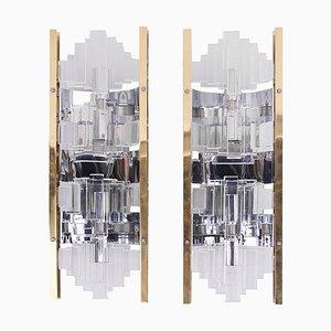 Wandleuchten aus Glas und vergoldetem Messing von Gaetano Sciolari, 1970er, 2er Set