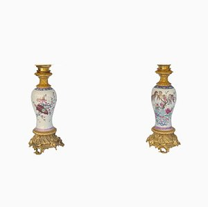 Porzellanlampen mit Rosenmotiven, 1880er, 2er Set