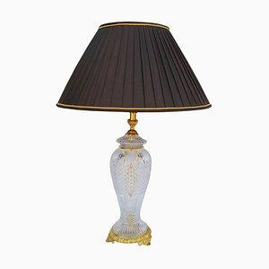 Lámpara antigua grande de bronce dorado y cristal