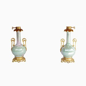 Antique Iridescent Celadon Porcelain Table Lamps, 1880s, Set of 2