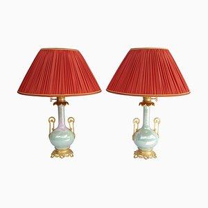 Antique Iridescent Celadon Porcelain Table Lamps, 1880s, Set of 2