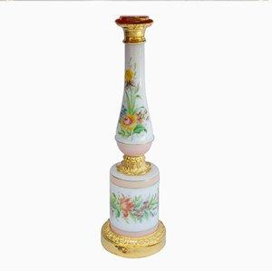 Antike Porzellanlampe in Rosa & Weiß mit Blumenmotiv