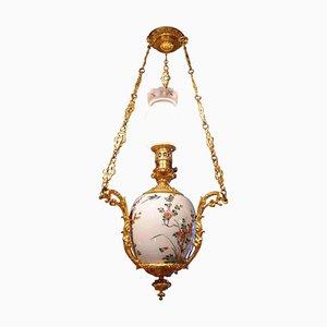 Lámpara de araña china cantonesa de bronce y porcelana dorada, década de 1880