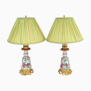 Lámparas estilo cantonesas de porcelana, siglo XX