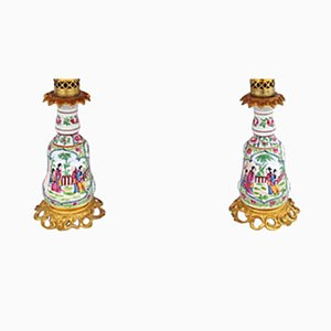 Vintage Canton Style Bayeux Porcelain Lamps, Set of 2